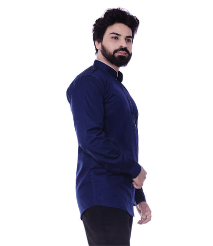 Blue Color Cotton Blend Men's Solid Shirt - XTL-KS08