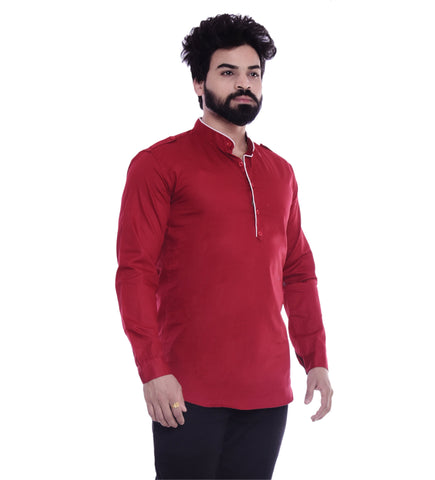 Maroon Color Cotton Blend Men's Solid Shirt - XTL-KS09
