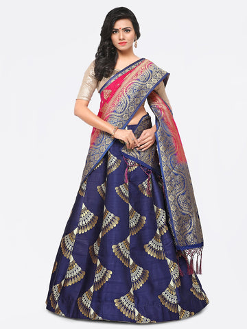 Blue Color Banarasi Silk Unstitched Lehenga - YDF-28762