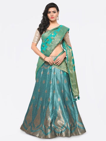 Turquoise Blue Color Banarasi Silk Unstitched Lehenga - YDF-28767