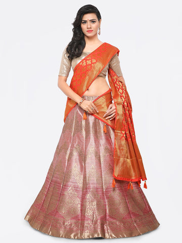 Pink Color Banarasi Silk Unstitched Lehenga - YDF-28768