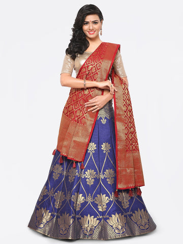 Blue Color Banarasi Silk Unstitched Lehenga - YDF-28769