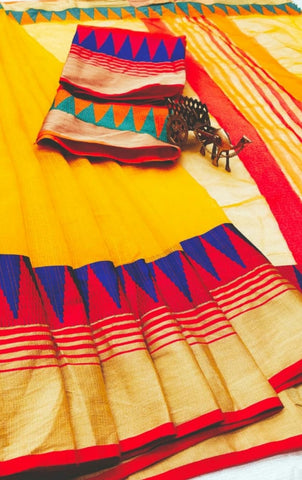 Yellow Color Kota Doriya Saree - YELLOW-LAXMINARAYAN
