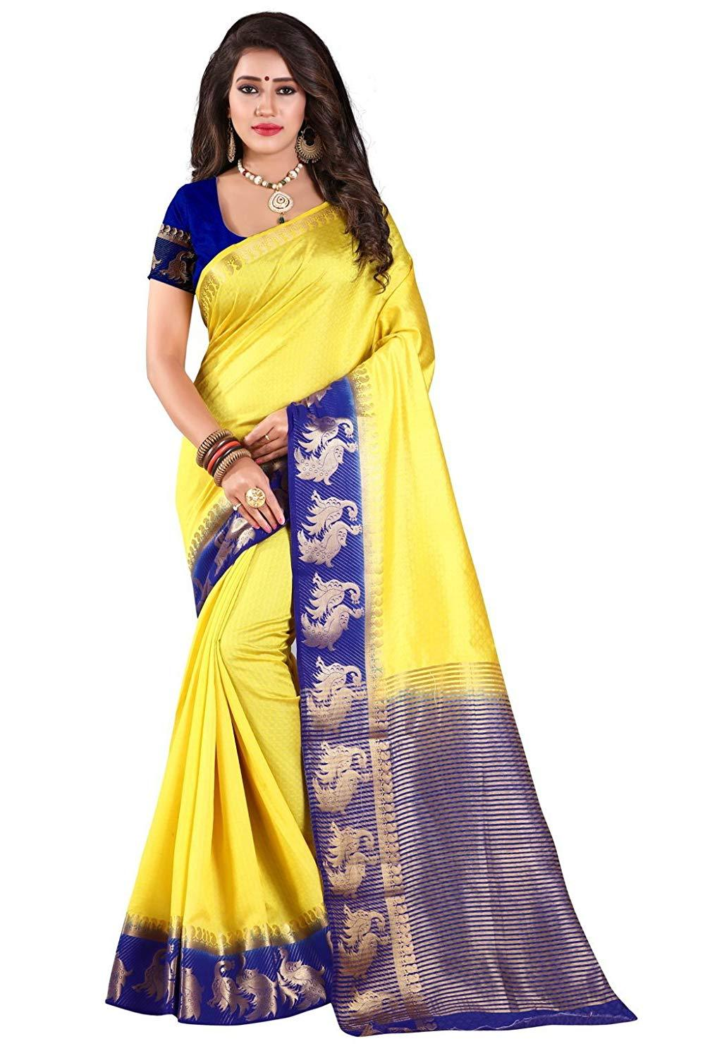 653664fdec6 Yellow and Blue Color Kanjivaram Silk Saree - YELLOW BLUE
