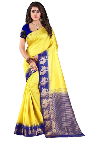 Yellow and Blue Color Kanjivaram Silk Saree - YELLOW BLUE