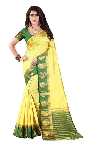 Yellow and Green Color Kanjivaram Silk Saree - YELLOW GREEN