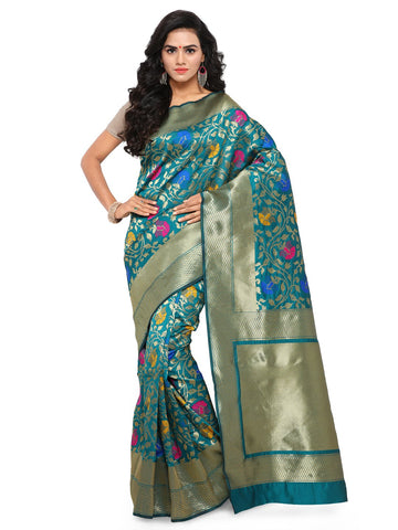 Turquoise Color Cotton Silk Saree  - YNF-28343