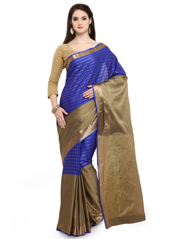 Blue & Gold Color Cotton Silk Saree  - YNF-28396