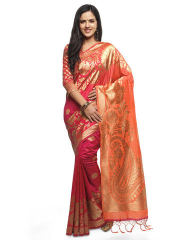 Pink & Peach Color Cotton Silk Saree  - YNF-28450