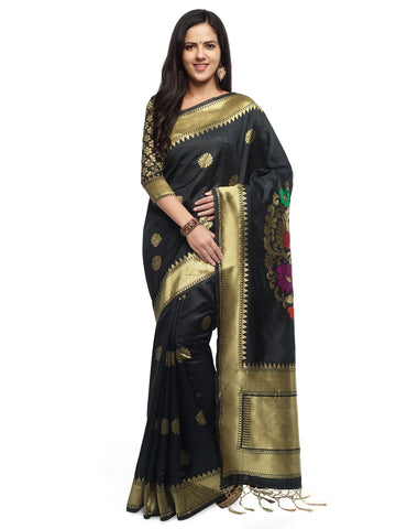 Black Color Cotton Silk Saree  - YNF-28452