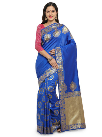 Blue Color Cotton Silk Saree  - YNF-28460
