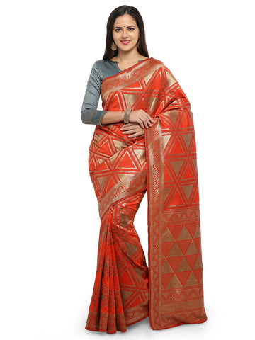 Red Color Cotton Silk Saree  - YNF-28461