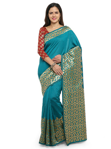 Turquoise Green Color Cotton Silk Saree  - YNF-28466