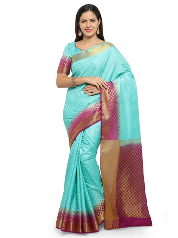Turquoise Blue Color Cotton Silk Saree  - YNF-28479