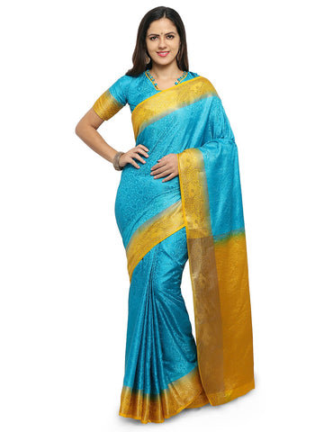 Turquoise Blue Color Silk Saree  - YNF-28484