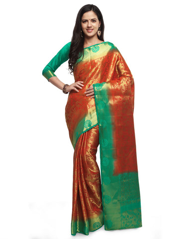 Red & Green Color Cotton Silk Saree  - YNF-28488