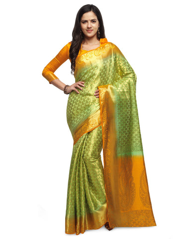 Lime Green & Orange Color Cotton Silk Saree  - YNF-28494