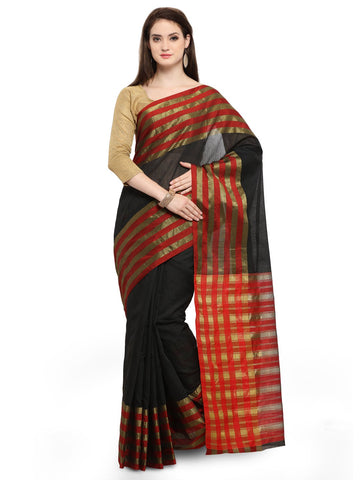 Black Color Cotton Silk Saree  - YNF-28510