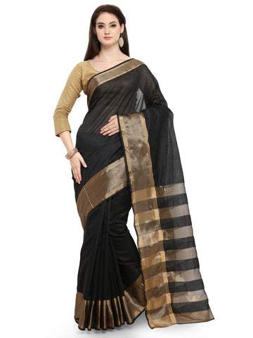 Black Color Cotton Silk Saree  - YNF-28513
