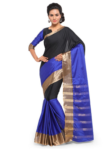 Black & Blue Color Cotton Silk Saree  - YNF-28514