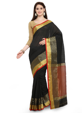 Black Color Cotton Silk Saree  - YNF-28543