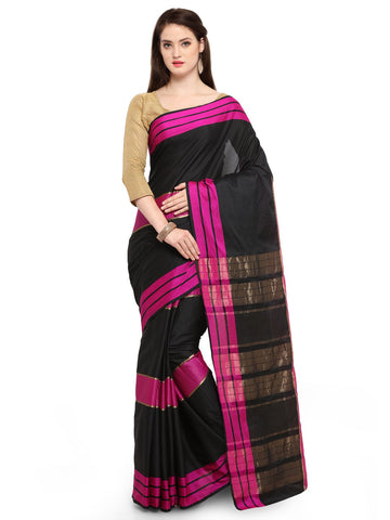 Black Color Cotton Silk Saree  - YNF-28544