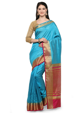 Aqua Blue Jaccqurd kanjevaram Cotton Silk Saree - YNF-28552