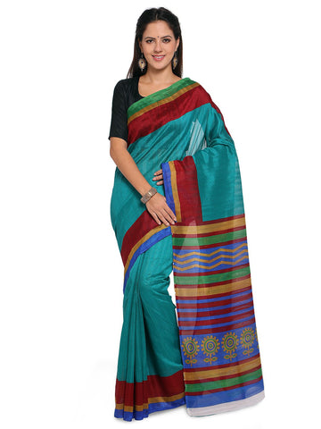 Turquoise Blue Color Bhagalpuri Saree  - YNF-28568