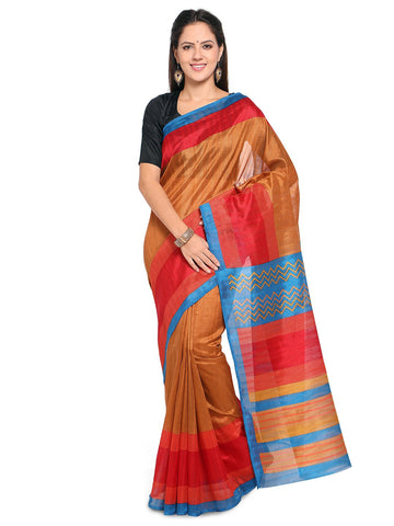 Brown Color Bhagalpuri Saree  - YNF-28569