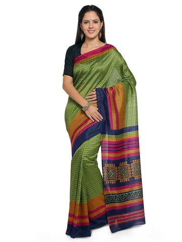 Olive Green Color Bhagalpuri Saree  - YNF-28572