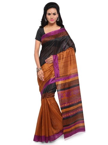 Black & Brown Color Bhagalpuri Saree  - YNF-28577
