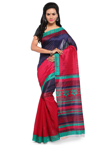 Red & Blue Color Bhagalpuri Saree  - YNF-28578