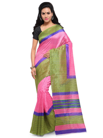 Pink & Olive Green Color Bhagalpuri Saree  - YNF-28579