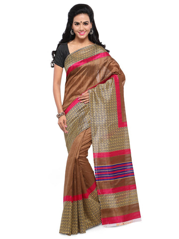 Brown Color Bhagalpuri Saree  - YNF-28580