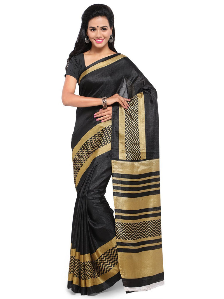 Buy Black Color Khadi Saree