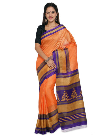 Orange Khadi Saree - YNF-28603