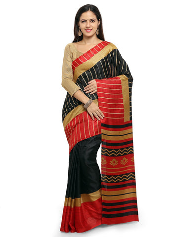 Black & Red Color  Saree  - YNF-28607