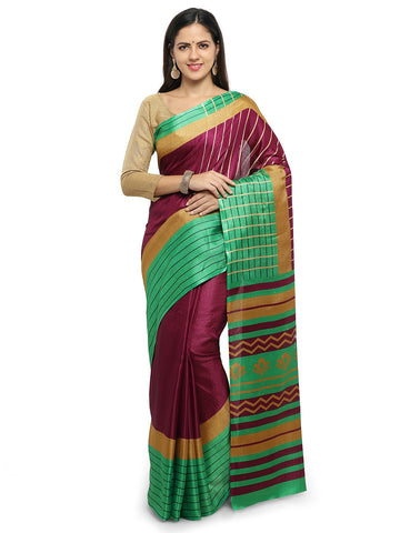 Magenta & Lime Green Color Khadi Saree  - YNF-28608