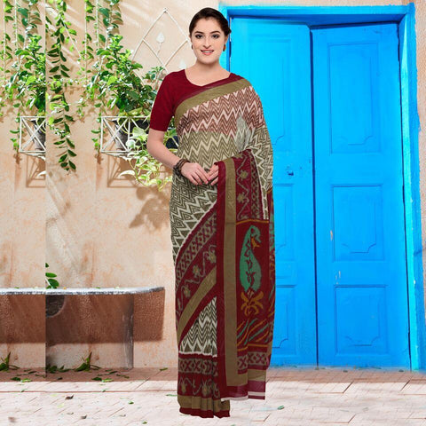 OffWhite and Maroon Color Georgette Saree - YNF-28617