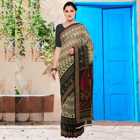 Cream and Black Color Georgette Saree - YNF-28618