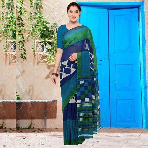 Blue and Turquoise Blue Color Georgette Saree - YNF-28631