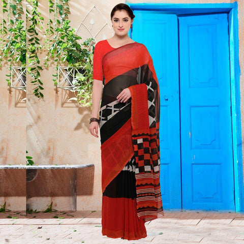 Black and Red Color Georgette Saree - YNF-28632
