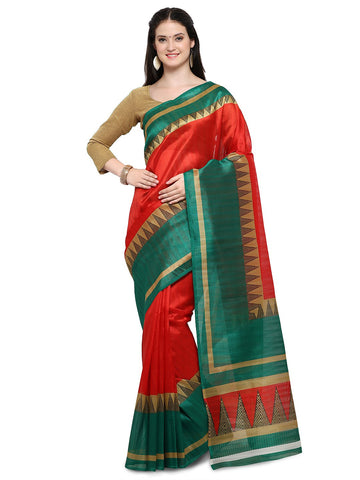 Red & Green Color Bhagalpuri Saree  - YNF-28652