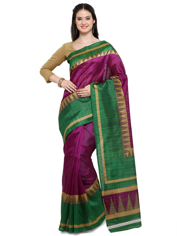 Magenta & Green Color Bhagalpuri Saree  - YNF-28653