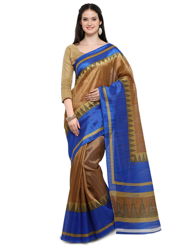 Brown & Blue Color Bhagalpuri Saree  - YNF-28654