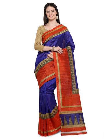 Blue & Red Color Bhagalpuri Saree  - YNF-28655