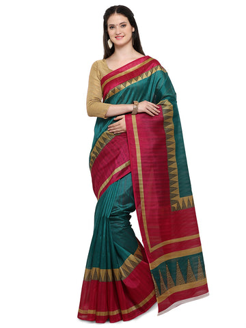Green & Maroon Color Bhagalpuri Saree  - YNF-28656