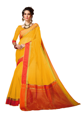 Yellow Color Cotton Silk Saree  - YNF-28660