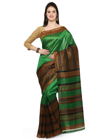 Lime Green Bhagalpuri Saree - YNF-28662