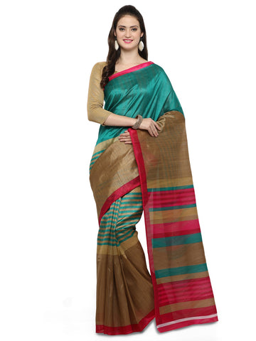 Teal and Brown Bhagalpuri Saree - YNF-28670